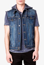 Forever 21 Heathered Hood Denim Vest