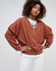 Pull And Bear Pullandbear V Neck With Button Detail Sweat In Red