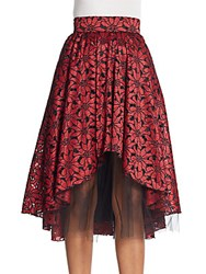 Abs By Allen Schwartz Floral Lace Hi Lo Skirt Red