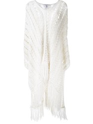 Philosophy Di Lorenzo Serafini Knitted Fringed Poncho White