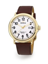 Shinola Runwell Goldtone Stainless Steel Watch Red Gold White