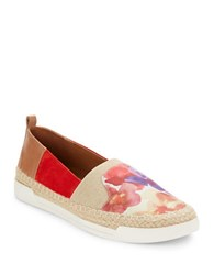 Elie Tahari Aruba Leather And Espadrille Flats Red Natural