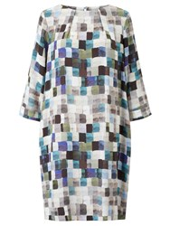 John Lewis Kin By Painted Square Print Dress Blue