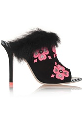 Sophia Webster Louby Embroidered Marabou Trimmed Suede Mules Black