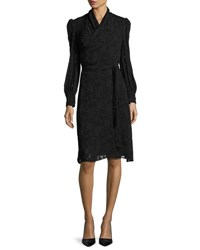 Co Burnout Long Sleeve Wrap Dress Black