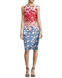 David Meister Sleeveless Floral Cocktail Dress Blue Red Blue Red