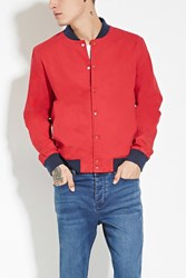 Forever 21 Cotton Bomber Jacket Red