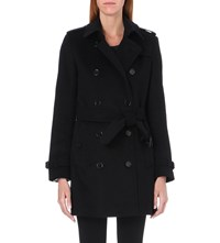 Burberry The Kensington Mid Length Wool And Cashmere Blend Trench Coat Black