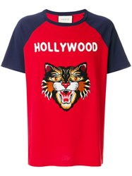 Gucci Hollywood Angry Cat T Shirt Men Cotton M Red
