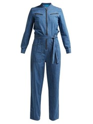 M.I.H Jeans Margot Pinstriped Cotton Chambray Jumpsuit Blue Stripe