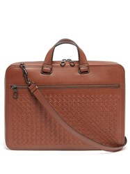 Bottega Veneta Intrecciato Slim Leather Briefcase Brown