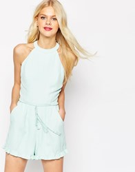 Asos High Neck Ruffle Hem Playsuit With Rope Tie Mint Green