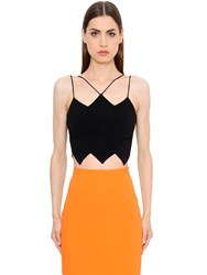 David Koma Zigzag Hem Cady Crop Top