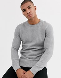 New Look Waffle Crew Neck Jumper In Grey