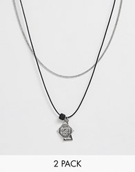 Bershka 2 Pack Multi Pendant Necklace In Silver And Cord Silver