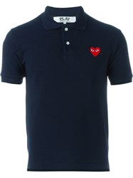 Comme Des Gara Ons Play Short Sleeved Polo Shirt Blue
