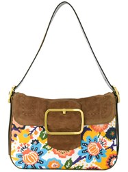 Tory Burch Tapestry Buckle Bag Women Leather Polyester One Size