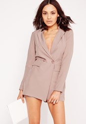 Missguided Tuxedo Style Long Sleeve Playsuit Nude Grey