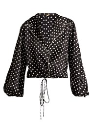 Johanna Ortiz Let's Dip Balloon Sleeve Silk Blouse Black White