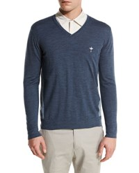 Loro Piana Scollo V Neck Bicolor Wash Virgin Wool Sweater Navy