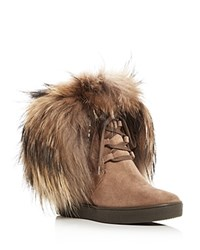 Aquatalia By Marvin K Cecilia Fur Trim Weatherproof Wedge Booties Taupe