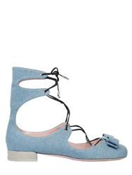 Salvatore Ferragamo 20Mm Cotton Denim Lace Up Flats