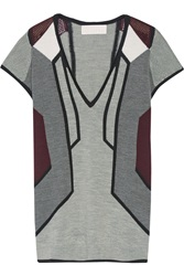Peter Pilotto G Intarsia Knit Wool And Silk Blend Sweater Gray