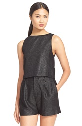 Alice Olivia 'Luanna' Woven Metallic Shell Black