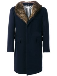 Thom Browne Detachable Gold Beaver Collar Melton Wool Chesterfield Blue