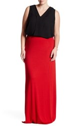 White Label By Rachel Pally Long Back Slit Skirt Plus Size Red