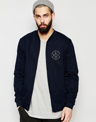 Asos Jersey Bomber Jacket With Chest Print In Navy Navy