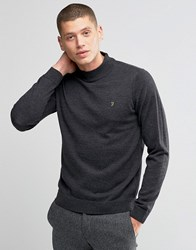 Farah Jumper In Merino Wool With Turtle Neck In Slim Fit Grey Charcoal