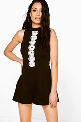 Boohoo Crochet Trim Playsuit Black