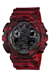 G Shock Xl Camouflage Pattern Ana Digi Watch 55Mm X 52Mm Regular Retail Price 150.00 Red Camo