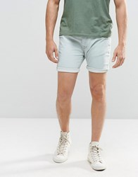 Brave Soul Light Blue Wash Denim Shorts In Stretch Skinny Fit Blue