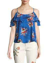 Dex Cold Shoulder Floral Crepe Blouse Multi
