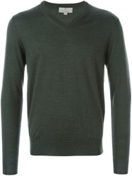 Canali V Neck Sweater Green