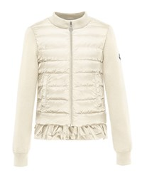 Moncler Maglia Fleece Zip Cardigan W Down Front And Ruffle Bottom Size 4 6 Size 6 Pink White