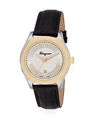 Salvatore Ferragamo Lungarno Two Tone Stainless Steel And Leather Watch Black