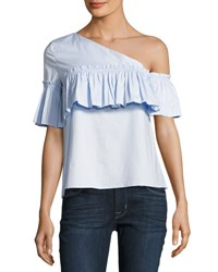 Marled By Reunited Clothing One Shoulder Ruffle Top Light Blue