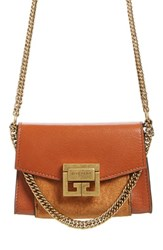 Givenchy Givency Nano Gv3 Leather And Suede Crossbody Bag Brown Chestnut