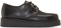 Underground Black Leather And Calf Hair Wulfrun Creepers