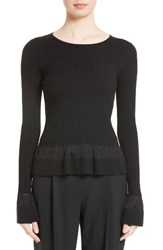 Diane Von Furstenberg Women's Ribbed Peplum Sweater