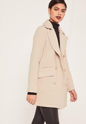 Missguided Petite Grey Short Faux Wool Military Coat Stone