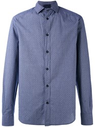 Armani Jeans Woven Polka Dot Shirt Men Cotton Xl Blue