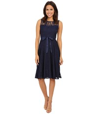 Christin Michaels Faith Lace Sleeveless Dress Navy Women's Dress