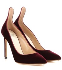 Francesco Russo Velvet Pumps Red