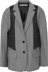 Alexander Wang Layered Wool Blend And Leather Blazer Gray