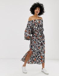 Weekday Printed Off Shoulder Long Sleeves Maxi Dress In Navy Multi
