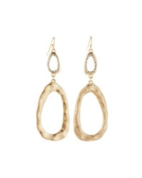 Lydell Nyc Golden Pave Oval Double Drop Earrings Crystal Cl